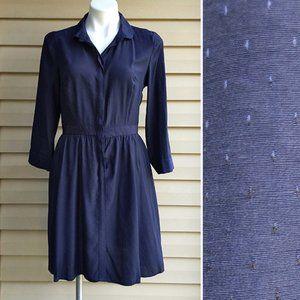 Merona Navy Textured Button Down Modest Dress M
